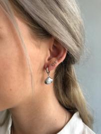 RVS oorbellen (stainless steel), schelp aan ringetje. zilverkleurig.