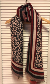 Langwerpige sjaal Luipaard (panter) dessin. Jaquard geweven.  Strepen langs de randen. Donker Rood