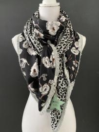 Navy kraanvogels / bloemen - Grijze panter print, couture sjaal.