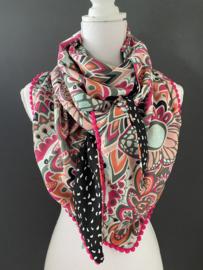 Ibiza flower power fuchsia Pink multicour / zwart mini patroon, couture sjaal.