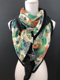 Oranje-groen-kobalt groot patroon / Zwart-ecru stip,  couture sjaal.