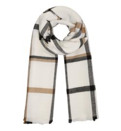 Langwerpige super zachte sjaal. Groot blok dessin. Wolwit / Camel / Zwart