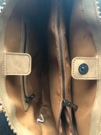 Kartel bag - tas van ZEBRA. Horizontaal model. Suedine. Donker army green.