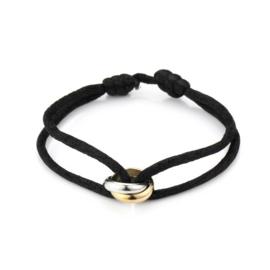 Satijn armbandje met bi-colour RVS (stainless steel) ringen. Zwart