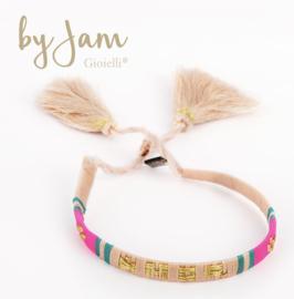 """By Jam, Textiel vriendschap armband. """"Amor"""", Zachtroze-aqua-fluo roze"""