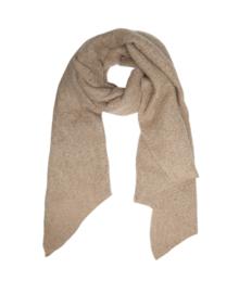 Langwerpige  super soft sjaal met schuine uiteinden. Beige