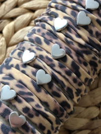 Ibiza Boho wikkel-armband. Vintage Leopard, zilverkleurig hart