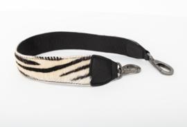 Schouderband Bag2Bag, leer/vacht. Zebra. Zwart