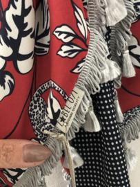 Donker rood luipaard / panter - bloem.  / navy stipje achterkant