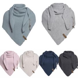Sjaal/omslagdoek van het mooie merk Knit Factory. Oud blauw / groen