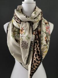 Beige-goud bloemen / panter, Couture sjaal.