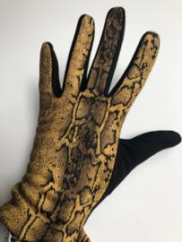 Handschoenen, Okergeel / Zwart,  snake.