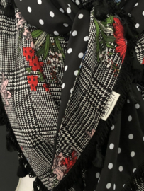 Check check dubbel check Flowers / Zwart - witte stip, couture sjaal.
