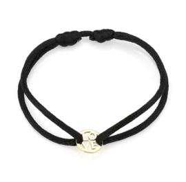 """Satijn armbandje met RVS (stainless steel) """"LOVE"""". Zwart - Goud"""