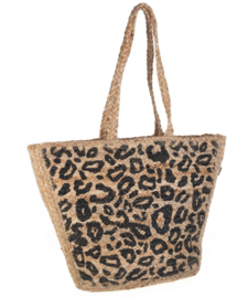 Kbas. Ibiza style, medium shopper jute, naturel / panterprint.
