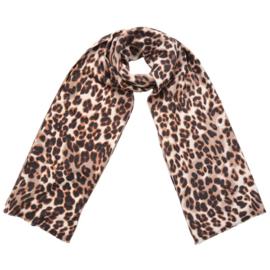 Langwerpige super soft sjaal, luipaard (panter) dessin. Bruin - cognac - ecru.
