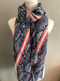 Grote langwerpige sjaal. Snake print met strepen. Jeans blauw - koraal
