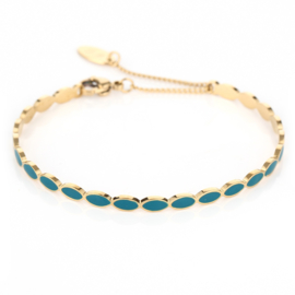 RVS (stainless steel) armband / bangle. Goudkleurig -petrol blauw