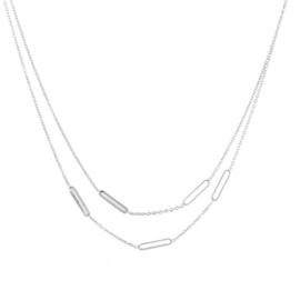 RVS (stainless steel) ketting, dubbellaags. Zilverkleurig.