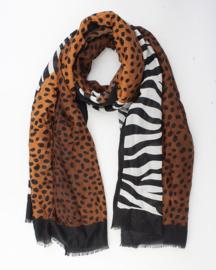 Mooie grote langwerpige sjaal. Zebra-cheetah. Cognac-wit-zwart.