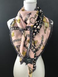Roze-grijs-okergeel classic dessin / zwart bloemetjes dessin, couture sjaal.