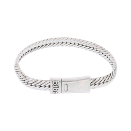 Biba armband, silver plated metaal. Buddha look. Model breed plat, zilver