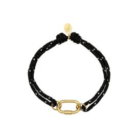 Zwart-wit touw armbandje met RVS (stainless steel) schakel. goudkleurig