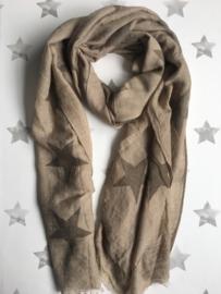Langwerpige Sterren sjaal, Zand-Taupe.
