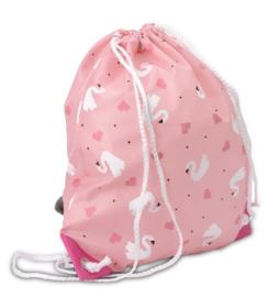 Zebra Gymtas / schooltas / schoenentas  aantrekkoord. Roze-Wit zwanen.