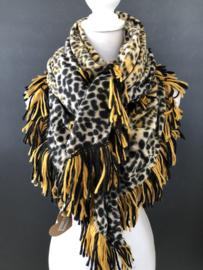 Grote vierkante super soft sjaal met dikke franje. Zwart-geel luipaard