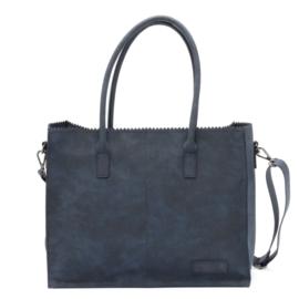 Kartel bag - tas van ZEBRA. Horizontaal model. Suedine. Navy