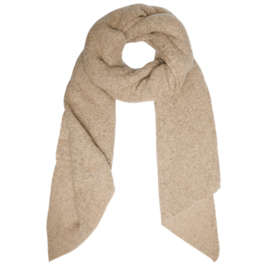 Langwerpige  super soft sjaal met schuine uiteinden. Camel / beige