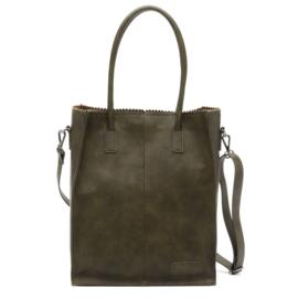 Kartel bag - tas  van ZEBRA. Bewerkt PU. gevoerd. Donker olijf groen