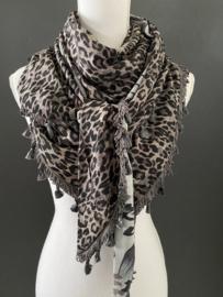 Grijs-blauw /taupe bloemen  /taupe-mauve luipaard. Couture sjaal.