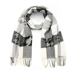 Langwerpige super soft sjaal. Blok/Pierre de pu  print. Grijs combi