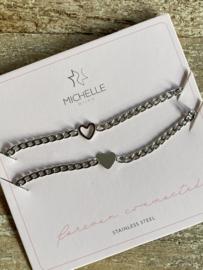 Stainless steel armband, SET van 2, vriendschaps armbanden. Zilver