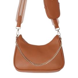 Súper trendy tas met mini tasje. Bewerkte band + ketting. Terra/roestbruin