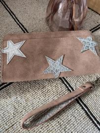 Portemonnee Groot model. 3 Stars croco. Oud roze-Rustiek bruin