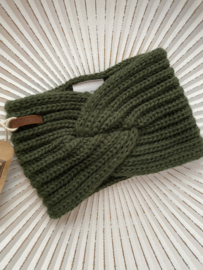 Knit Factory, gebreide haarband. Khaki (Army green)