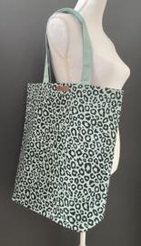 Super leuke katoenen Shopper.  Mint + luipaard / panter print.