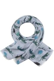 Langwerpige dunne  sjaal. Lichtblauw - groen panterprint.