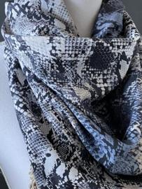 Jeans blue - Grijzig Snake en panter print, couture sjaal.