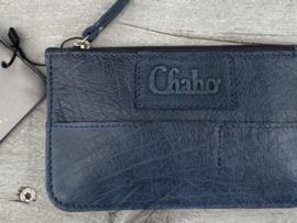 "Chabo mini portemonnee, écht leer. ""Coin-wallet"" Blue - blauw"