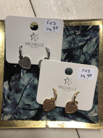 RVS oorbellen (stainless steel), hart aan ringetje. zilverkleurig