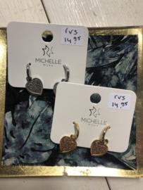 RVS oorbellen (stainless steel), hart aan ringetje. Goudkleurig
