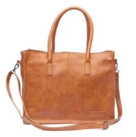 Kartel bag - tas van ZEBRA. Gevoerd + mini laptop vak. (Licht glanzend) Camel - cognac