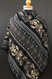 Dikke 3-hoek sjaal okergeel bouclé /  Navy barok patroon.