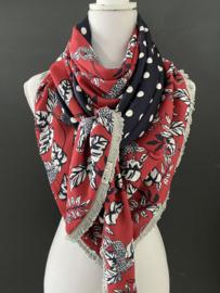 Soft kersen rood panter - bloemen / Navy polka dot,  couture sjaal.