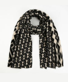 Langwerpige super soft sjaal . XL. Grafische print. Zwart - licht beige