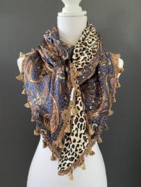 Groot Paisley dessin in blauw - cognac bruin / panter print, couture sjaal.